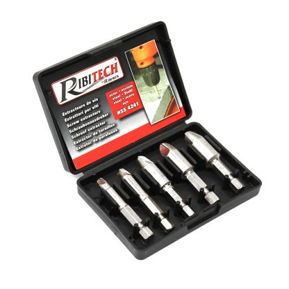 5-Piece Screw Extractor Ezy Set Easy Out Broken Screw Bolt Remover Kit